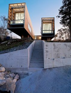 Two Hull House by MacKay-Lyons Sweetapple ArchitectsAmazing two-hull single family residence designed by MacKay-Lyons Sweetapple Architects situated in Canada. The two pavilions float above the shor... Architecture