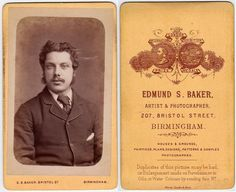 Carte De Visite Published By Edmund Baker 207 Bristol Street Birmingham