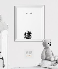 Souris Wall art Print, Animal crèche de l'Art, Poster, stylo graphique, noir et…