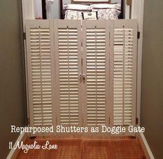 Vintage mini plantation shutters repurposed as a dog gate