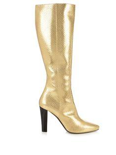 Saint Laurent Lily python-effect leather knee boots