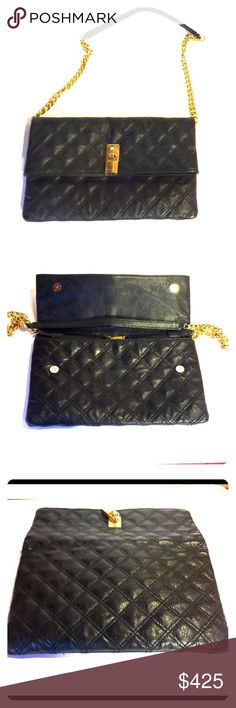 MARC JACOBS FOLD OVER CLUTCH OR SHOULDER BAG REMOVABLE CHAIN SHOULDER STRAP & WEAR AS CLUTCH DIAMOND STITCH PATTERN SNAP & ZIP CLOSURE TIMELESS STYLE W/ THIS DESIGNER PIECE TV HIGHER Marc Jacobs Bags