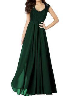 Miusol Damen Aermellos V-Ausschnitt Spitzenkleid Brautjungfer Cocktailkleid Chiffon Faltenrock Langes Kleid Gruen Groesse S