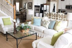 Starfish Cottage blog - small spaces living room and kitchen - i like the furniture arrangement