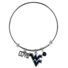 Love West Virginia University Wire Bangle Bracelet with Blue WV Team Logo Charm