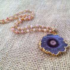 Gold Edged Amethyst Stalctite Pink Opal Pendant Beaded Short Delicate Necklace      Length: Short      Thank you for visiting ShopStranded. Please