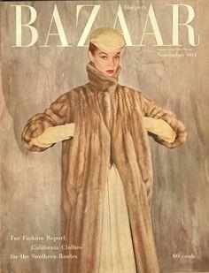 Harper's Bazaar November 1954 / Jean Patchett Vogue Magazine Covers, Fashion Magazine Cover, Fashion Cover, Vogue Covers, Christian Dior, Suzy Parker, Retro Fashion, Vintage Fashion, Magazin Covers