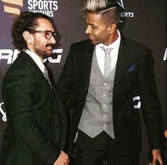 Hardik Pandya with Bollywood superstar Aamir Khan at the Indian Sports Honours Awards in Mumbai - http://ift.tt/1ZZ3e4d