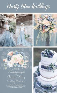 Dusty Blue, pale blue, slate blue wedding. French blue and serenity, peach, dusty rose wedding ideas. Peach, blue and rose wedding invitation by Lovelywow at zazzle.com | Pastel blue cake photo from cakeandlaceblog. Other pictures src: Pinterest