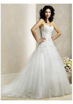 Charming Sweetheart Neckline Lace Up Back Chapel Train Tulle Wedding Dress DM-00170 [A201257080] - $193.00 : Zen Cart!, The Art of E-commerce