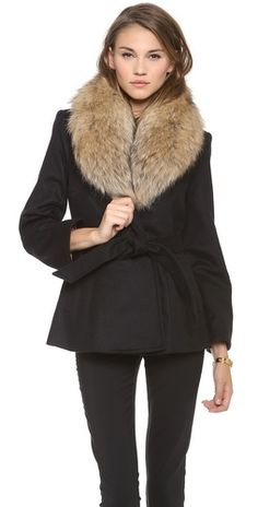 { alice and olivia trimmed coat }