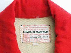 ビンテージ・チマヨ・ジャケット VCJ-001 1930年代 サウスウエスト・アーツ&クラフツ製 レディスサイズL ナチュラルxスカーレットレッド