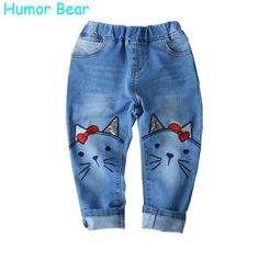 Humor Bear 2017 Children Jeans Girls Pants Cartoon Cat Embroidery Kids Clothes Pants Causal Jeans Girls leggings Kids Trousers