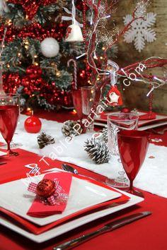 Box Déco de Table Noel 2015 Rouge et Blanc, en Laponie livrée complète et  prête