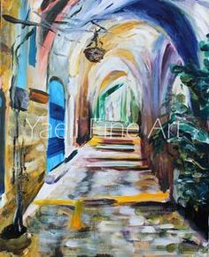 Change is always bittersweet. It's exciting to look upon the future but keeping a sliver of the past & its experiences is a must. That's what I think about as I wrap up this painting about to leave to its new home, and it's what I think as I pack up my belongings, my studio, about to enter a new one. Shutting one door and opening another. Jerusalem alleyway, Old City painting.