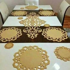 Felt Crafts, Diy And Crafts, Arabic Design, Cut Work, Charger Plates, Wood Boxes, Table Runners, 3 D, Projects To Try