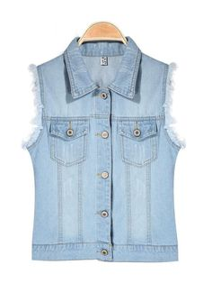 Casual Water Wash Denim Vest Women Outerwear Jeans Vest