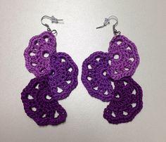 Purple Crochet Wedge Earrings by SuziandMarie on Etsy
