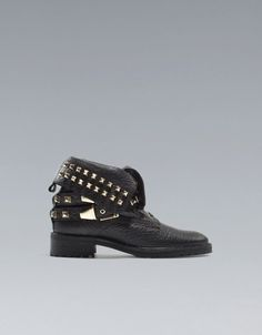 STUDDED ANKLE BOOT WITH STRAPS - Shoes - Woman - ZARA Netherlands