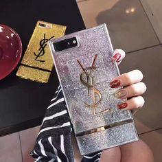 イヴサンローラン YSL三色iPhone8/7s/7Plusケース四角形アイフォン6s/7携帯カバー金属質感キラキラ