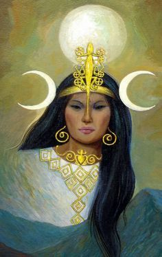 Chia Moon goddess of the Muyscaya (Chibcha) Indians. In their creation myth she was once supposed to have flooded the whole world. Goddess Art, Moon Goddess, Colombian Culture, Historical Hairstyles, Latino Art, Maya, Inca Tattoo, Mother Goddess, Virtual Art