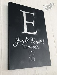 Custom Canvas Art, Wedding or Anniversary Personalized Monogram Artwork, Chalkboard Style on Etsy, $49.00