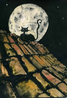 Cat on the roof with moon