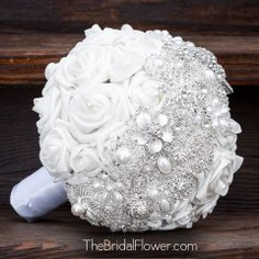Brooch bouquet with white and silver brooch by TheBridalFlower, $350.00