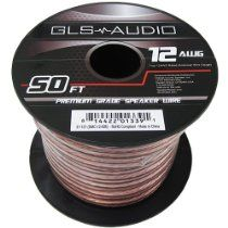 GLS Audio Premium 12 Gauge 50 Feet Speaker Wire - True 12AWG Speaker Cable 50ft Clear Jacket - High Quality 50' Spool Roll 12G 12/2 Bulk