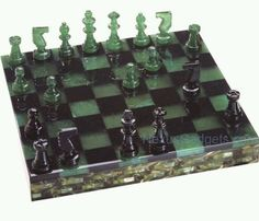 New Chiellini Volterra Green Black Alabaster Chess Checker Set Italy USA RARE | eBay