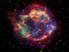 https://flic.kr/p/5tVTxo | Cassiopeia A: Cassiopeia A in Many Colors | <b>Description</b>: Cas A is the 300-year-old supernova remnant created by the explosion of a massive star. This stunning picture of Cas A is a composite of infrared (red), optical (yellow) and X-ray (green and blue) images. The infrared image from the Spitzer Space Telescope reveals warm dust in the outer shell with temperatures of about 25 degrees Celsius, whereas the optical image from the Hubble Space telescope brings…