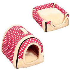 Saymequeen Foldable Cave Nest Cat Dog Indoor House Dog Bed Puppy Portable Bed (S:35x30x28cm/13.7x11.8x11 inch, Pink Dot) ** Read more reviews of the product by visiting the link on the image. (This is an affiliate link) #BedsFurniture