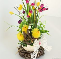 Купить Пасхальная композиция с цыплятами - Пасха, весна, желтый, розовый, подарок на Пасху, искусственные цветы