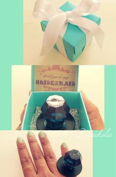 """I made these Tiffany inspired """"will you be my bridesmaid"""" ring pop boxes to pop the question to my bridesmaids. So cute and affordable. Boxes and ribbon were from Michaels and the template was from the #weddingchicks website"""