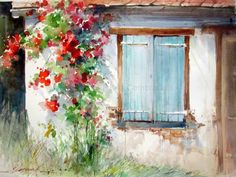Watercolor City, Watercolor Landscape, Watercolour Painting, Watercolor Flowers, Painting & Drawing, Watercolors, Scenery Paintings, Landscape Paintings, Watercolor Pictures