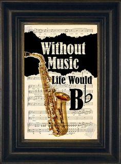 Amateurs de musique Saxophone Sax Jazz Orchestra sans musique la vie serait plate - mélangé page Vintage Sheet Music de Media recyclé 1920