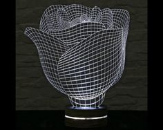 Rose Shape, Art Deco Lamp, 3D LED Lamp, Office Decor, Art Lamp, Home Decor, Plexiglass Lamp, Decorative Lamp, Acrylic Lamp, Night Light by ArtisticLamps