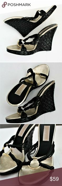 """Michael Kors Braided Leather Wedges Awesome black leather MK wedge sandals with gold-tone hardware. 5"""" wedge heel. Moderate scuffing on soles but in very good condition. Made in Italy. Size 6M. Michael Kors Shoes Wedges"""