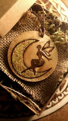 fairy necklace, faerie jewelry, gold fairy, moon necklace, gold leaf jewelry  Hand burned by Ricki Timber Tavi!  Please visit my shop at  https://www.etsy.com/shop/RickiTimberTavi