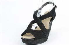 Alfani Black Pinae Leather Wedge Sandals