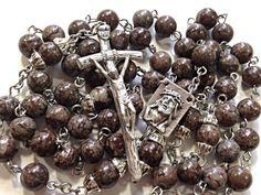 Brown Snowflake Jasper & Stainless Steel Rosary    #rosary  #rosaries