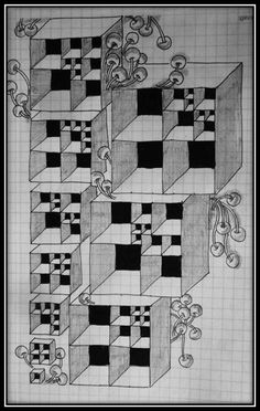 """Zentangle Weekly Challenge #208: """"Duotangle - Cubine vs Pokeroot"""""""