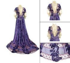 House of Worth, deep Iris Coupe des Velours Silk Chiffon Gown.  French, circa 1903.
