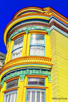 Yellow Victorian In Haight Ashbury, San Francisco www.mitchellfunk.com