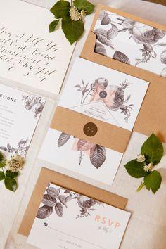botanical inspired invitations - photo by Tory Williams http://ruffledblog.com/modern-wedding-ideas-with-driftwood-details #weddinginvitations #stationery #flowers