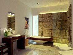 pared moderna ed piedra para baño