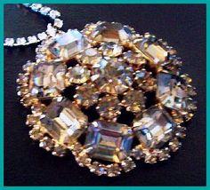 Vintage Rhinestone Pendant Necklace Smoke & by BrightgemsTreasures, $34.50
