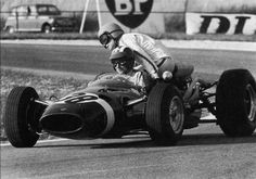 "Jo Siffert  (Rob Walker Racing Team), Cooper T81 - Maserati V12  and  ""Passenger"": Guy Ligier ,1966"
