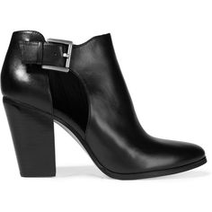 MICHAEL Michael Kors Adams cutout leather ankle boots (€225) ❤ liked on Polyvore featuring shoes, boots, ankle booties, sapatos, heels, black, black leather ankle booties, black booties, high heel booties and black leather bootie