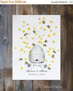 ON SALE Wedding Guest Book Alternative thumbprint by bleudetoi
